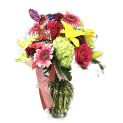 The Petal Zoom Bouquets are prepared fresh and on hand for FAST same day delivery within our local delivery area.  This bouquet contains Lilies, Gerbara Daisys, Hydrangea and roses.  Colors vary slightly with the season.  Delivery areas served with petal zoom bouquets include the 94536, 94555, 94560, 94587, 94538 and 94539 zip codes only