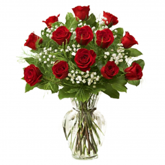 Our stunning Red Rose Bouquet is a classic romantic gesture that will have them falling head over heels in love with each exquisite bloom.  Hand designed and flaunting a rich red hue accented with pops of white starry gypsophilia , this stunning flower arrangement has been designed fresh for you to help you celebrate a birthday, anniversary, or convey your message of love and sweet affection. This bouquet includes the following: red roses, gypsophilia, and an assortment of lush greens. Available in our exclusive ginger jar vase to complete an upscale look.