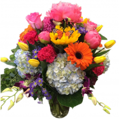 this discriminating buyer wanted a burst of florals of the season. Containing peony, hydrangea, carnations, Orchids, tulips, sunflowers