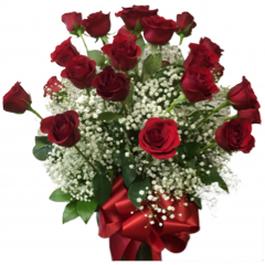 Two dozen long stem roses arranged in a vase