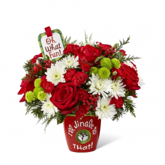 "Ring in the holiday season with friends and family in yuletide style and fresh beauty with The Fremont Flowers Jingle to That™ Bouquet by Hallmark! Rich red roses, red mini carnations, white chrysanthemums, green button poms, variegated holly, and fragrant holiday greens are arranged to perfection to create a winning Christmas gift. Presented in a ceramic red vase with the sentiment, ""I'll Jingle to That!"" in white lettering on the front and a single jingle bell hanging at the center, this fresh flower bouquet is also accented with a hand lettered keepsake Hallmark tag that reads, ""Oh What Fun!, inside reads, Jingly Christmas Wishes!"" to create an unforgettable way to send your merriest wishes near and far this Christmas season. 10""H x 11""W. BETTER bouquet is approx. 12""H x 12""W. BEST bouquet is approx. 13""H x 15""W. EXQUISITE bouquet is approx. 14""H x 16""W."
