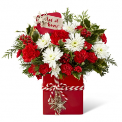 "<b>The Fremont Flowers Holiday Cheer Bouquet sends your merriest wishes to friends and family this Christmas season!  <br> <br> A rush of red is ready to greet your special recipient with this fresh flower arrangement's use of red roses, red carnations, and red mini carnations, perfectly accented with white chrysanthemums, variegated holly, and fragrant holiday greens. Presented in a red ceramic rectangular container tied with a red and white striped ribbon and embellished with dangling snowflake charms, this fresh flower bouquet is accented with a festive holiday pick that reads, ""Let It Snow,"" to help you celebrate the yuletide season in style.  <br> <br> AS SHOWN bouquet is approx. 13""H x 14""W.  <br> DELUXE bouquet is approx. 14""H x 15""W.  <br> PREMIUM bouquet is approx. 15""H x 16""W.  <br> EXQUISITE bouquet is approx. 16""H x 19""W."