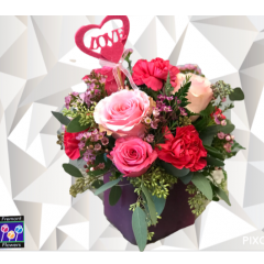 The Pink Passion.  Mixed favorites like roses and carnation blend in this beautiful cube vase