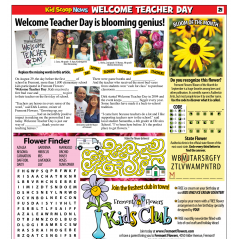 Welcome Teacher Day  at Fremont Flowers, 4050 Alder Ave. Fremont.  Free flower bud vase for elementary school students the day prior to the first day of school. Come to Fremont Flowers between 10 am and 5 pm, one bud vase per student.  Student must be present.