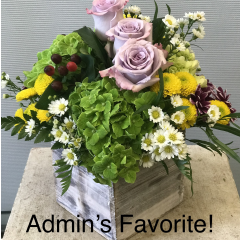 The InBox Bouquet for Admin Professional Week!  A variety of spring flowers arranged in a stylistic wood box!  Available in our local delivery area.  Perfect for the desk and easy to transport home!  The InBox bouquet is value priced also!