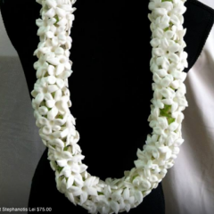 The Stephnotis Lei.  Very fragrant!  This delicate lei is most rare and requires 7 days advance order and purchase.  SPECIAL ORDER ONLY   Price is dependent on the market price at time of purchase.