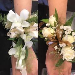 Show are two of the most popular wrist corsage styles.  Mini roses and dendrobian orchids.  Trim style shown is just a sample, and trim can be customized to any color that matches attire.  (see trim choices on this webpage)  We can combine roses and orchids also.  Roses come in a variety of colors including red, pink, white, yellow, orange (check with the shop on specific colors available)  Orchids are available in white and variegated purple and white. We can use other flowers to create a unique body flower ...but would suggest you visit our shop to convey details and see samples.  The shop is located at 4050 Alder Ave. Fremont, near American High School.  Hours are 9 am to 5:30 pm monday through friday, 10 am to 5 pm on Saturday. Closed Sunday.