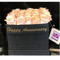 A Fremont Flowers exclusive. 18 roses arranged in a hat box and elegantly labeled to wish someone a happy anniversary or birthday. Shown in the picture is our medium deluxe size with 18 or 24 roses. Available for pickup or local delivery. Elsewhere available for twice this price- this elegant gift is a great value. Box colors and styles subject to availability . As inventory runs out, we will substitute a different style box and color to make sure it arrives in the requested time frame.