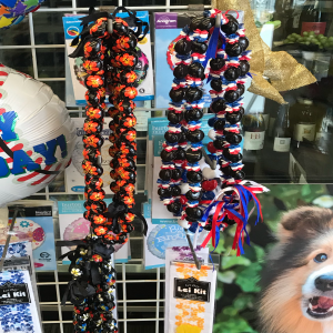 We have Kukui nut leis as well as candy lei kits.  The kit allow you to add your choice of candy to the lei easily.  Limited supply!  Washington and American colors....as well as a few Logan!