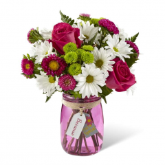 "The Because You're Special™ Bouquet is ready to surprise and delight your recipient ! The colors of this bouquet make the eyes dance from bloom to bloom, bringing together hot pink roses, white daisies, green button poms, hot pink matsumoto asters, and lush greens. Presented in a sweet pink glass vase with a tag hanging from the neck that reads, ""Because You're Special,"" this spring flower bouquet is a beautiful way to express your thank you, thinking of you, or happy birthday sentiments. GOOD bouquet is approx. 13""H x 12""W. BETTER bouquet is approx. 13""H x 13""W. BEST bouquet is approx. 14""H x 14""W. EXQUISITE bouquet is approx. 15""H x 14""W."