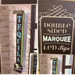 Our tequila sign adds whimsy to any home bar.  Measures 30 inches long. LED lighting.  Easy install limited in stock.