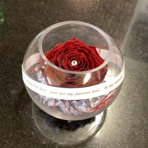 A real preserved rose with a crystal studded center encased in a glass globe with your personal message surrounding its equator -or- the word love in languages from around the world! A great long lasting gift that can be paired with our exclusive chocolate selections.