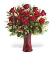 <b> A DOZEN RED LONG STEM ROSES ARRANGED IN A RED HURRICANE STYLE VASE.