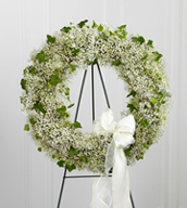The Precious™ Wreath is a beautiful arrangement to commemorate their life with sweet sophistication. Stems of baby's breath and ivy vines are artfully arranged in the shape of a wreath and accented with a white satin and white sheer bordered ribbon to create a beautiful presentation for their final farewell service. Displayed on a wire easel.