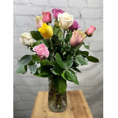 One dozen mixed color roses in vase - (designer's choice of colors)