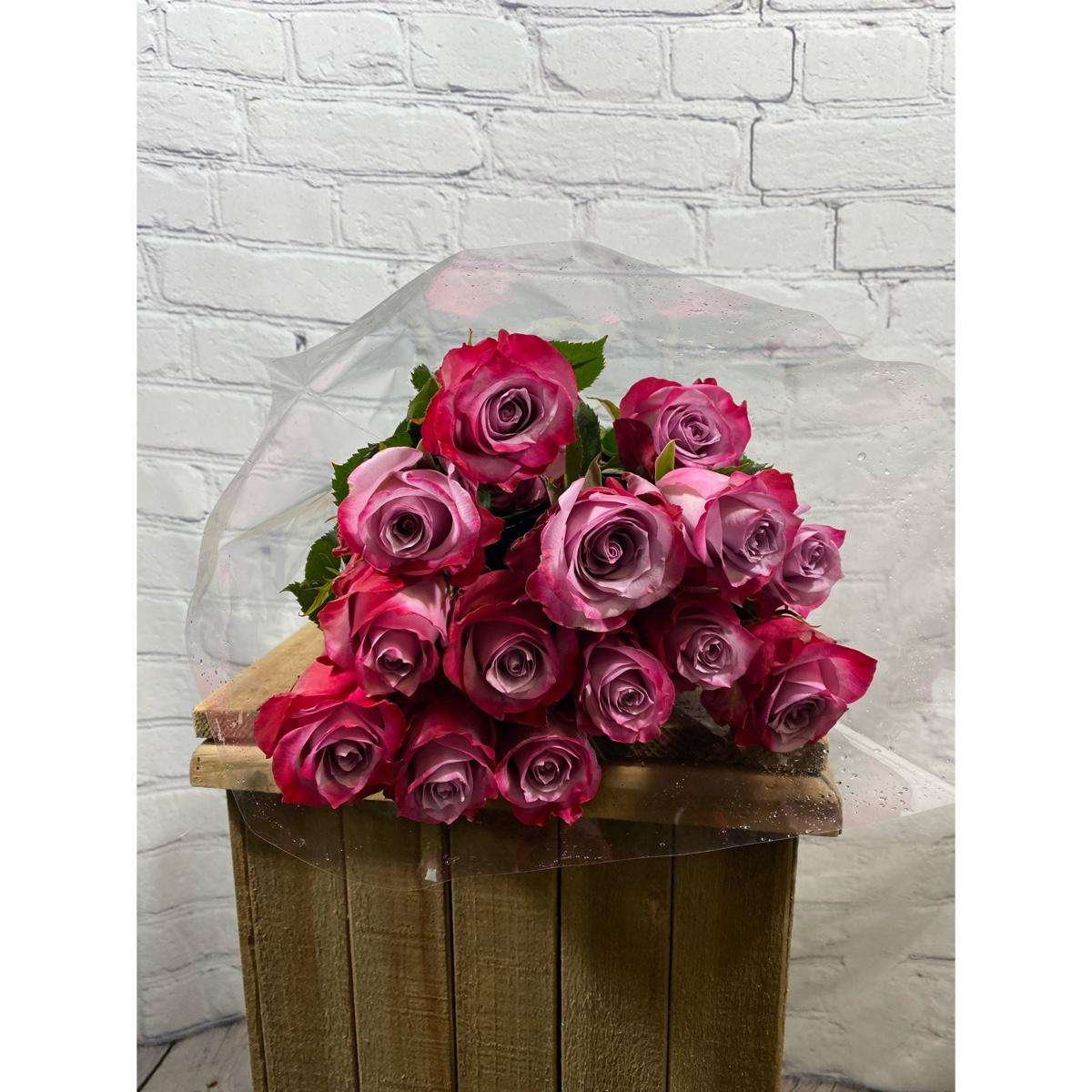 2 Dozen Fresh Cut Roses Vase ready This weeks special Deep purple