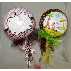 All new mylar balloons custom decorated and ready to send out with your floral arrangement to welcome the new arrival!