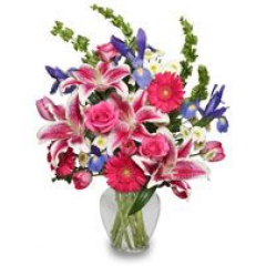 """Fabulous Describes This Elegant Design Of Stargazer Lilies, Roses, Iris, Gerbera Daisies And Tulips - Sure To Get A """"Wow""""!"""