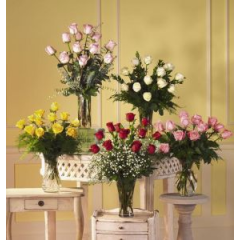 Vibrant Imported Roses To Brighten Any Day. One Dozen Roses In A Clear Vase Or Upgrade To Two Dozen. Call For Available Colors.