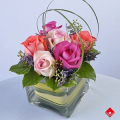 A Half Dozen Of Roses in a Chic Cube Vase. This Arrangement  Is Perfect For A Small Area Or Desk, Accented With Bear Grass. We can design this arrangement to include more roses for an increase in price, giving you a a stunning bouquet  for a special small space.