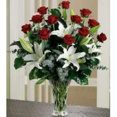 All Her Favorites! Long-Stemmed Red Roses And FragrantWhite Lilies. A Romantic Gift She Will Treasure!
