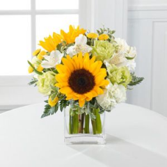 Two Gorgeous Sunflower Captivate This Bouquet, Along With Golden Yellow Button Poms, Jade Roses And Ivory Alstromeria.