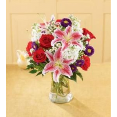 A Sweet Bouquet And Sweety Scented, Too! Stargazer Lilies, Stock And Red Roses Offer A Lovely Fragrance As Well As A Lovely Look!