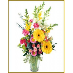 The special gardener on your list will love this collection of vibrant garden blooms.  Arranged in a clear vase, sure to be a real hit!