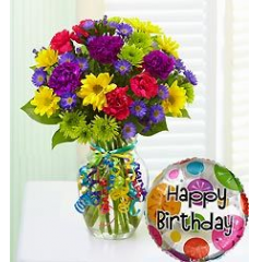 A bright and happy fresh flower bouquet to send wishes for a special day! Mylar balloon included!