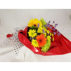 A gathering of seasonal mixed fresh flowers are decorated with cellophane lace paper and a lovely bow. We also preserve their freshness by water tubing the stems. During your check-out mention in the comment section the school name and we will customize the wrapping to coordinate.