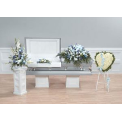 The Casket Spray Has A Satin Cross Tucked Into The Top.   Lid Decoration-$59.95