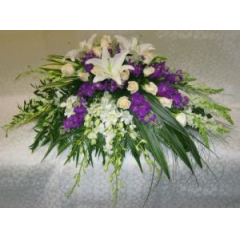 This Delicate Casket Cover Is Arranged With Cream Roses, White Lilies And Dendrobium Orchids. Simple And Beautiful
