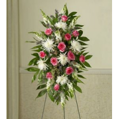 The Stand With White Fuji Mums And Bright Pink Roses Makes A Nice Statement At A Memorial Or Funeral Service.