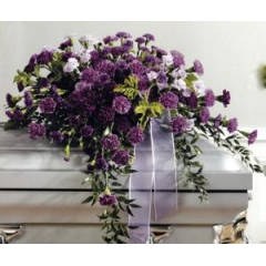 Very Trendy This Year Is the stunning new Moon Shadow Collection of Purple Carnations from Eucudor. This Casket Cover Is Wonderful For Someone Who Loved Purple.