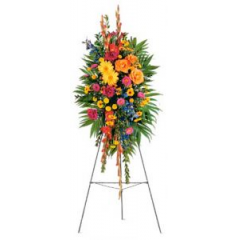 An Colorful Easel Of Flowers Picked From A Gorgeous Garden.