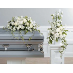 A Beautiful Combination Of Roses Iris, Stock & Hydrangea Make This Pair Unbeatable . Can Also Be Purchased Seperately. CASKET PIECE-$450.95 ARRANGEMENT-$224.95