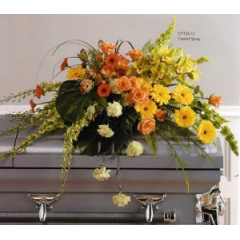 A Stunning Combination Of Sunny Yellow Gerbs, Green Orchids And Orange Roses. A Special Tribute.