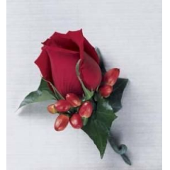 This Classic Uses A Single Red Rose To Make An Elegant Statement. Hypericum Berrie Adds The Perfect Touch!