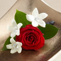 Poetry Boutonniere Will Be The Perfect Fit For Your Very Special Occasion. Single Rose Accented With Stephanotis Blooms. Please call early as we have to import the Stephanotis blooms.