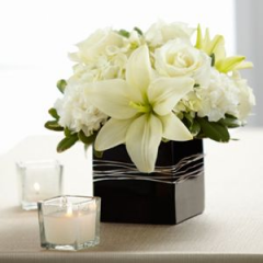 Ideal For Accent Or Centerpiece These Roses, Lilies, Carnations And Hydrangeas Are Set In A Glass Cube Vase.