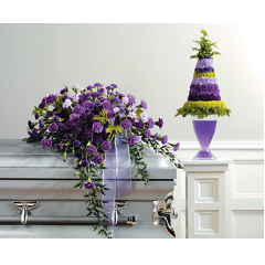 PURPLE MONOCHROMATIC CASKET SPRAY 495.95  SF35-12 PURPLE AND GREEN CONE TOPIARY-CONTAINER NOT AVAILABLE-call for custom pricing.