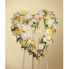 PINK AND YELLOW ROSE OPEN HEART STANDING SPRAY