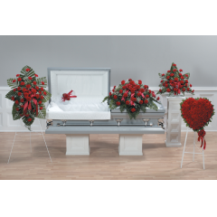 "CTT26-12 PILLOW LID DECORATION -$65.95 CTT27-13 HEART STANDING SPRAY-18""HEART-$425.95, 24""HEART-589.95"