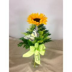 Bright Sunflower with Solidago accented with a Butterfly and bow. Perfect to brighten someone's day or to use as a table centerpiece when you are working on a budget.