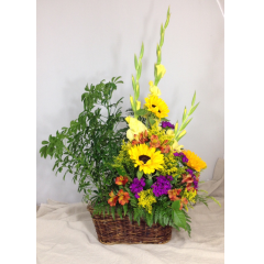 A BEAUTIFUL TRIBUTE FOR THE HOME OR A MEMORIAL SERVICE DESIGNED WITH LIVING GREEN PLANT AND A BRIGHT MIX BRIGHT COLORFUL CUT FLOWERS THAT CREATES A UNIQUE DESIGN.