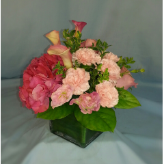 Perfect for a bridal shower or a wedding this is a beautiful combination of pink flowers.