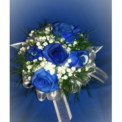 A SMALL CLUTCH BOUQUET OF STEM DYED ROYAL BLUE IMPORTED ROSES ACCENTED WITH BABY'S BREATH AND RIBBON. WE CAN DESIGN THIS STYLE OF CLUTCH IN ANY COLOR OF ROSE YOU CHOOSE.