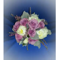 A SOFT ROMANTIC CLUTCH BOUQUET OF LAVENDAR ROSES, HEATHER AND GARDEN ROSES