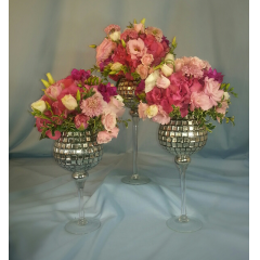 THIS MAGNIFICENT GROUPING OF 3 SIZES OF MERCURY GLASS VASES IS A REAL SHOW STOPPER. WALKING INTO A ROOM FILLED WITH THESE STUNNING BEAUTIES IS BREATH TAKING!
