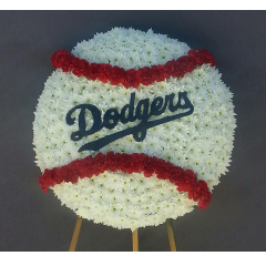 "Go Dodgers! Honor your sports fan with this memorial design that captures their love of the game. This large design is a 28"" baseball mounted and displayed on a 5ft. easel. A custom design with many hours of labor and detail."